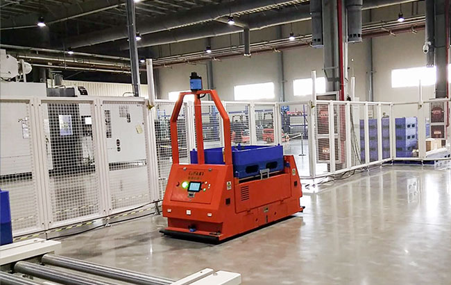 AGV Laser Guided Vehicle , AGV Material Handling With Sound And Visual Alarm